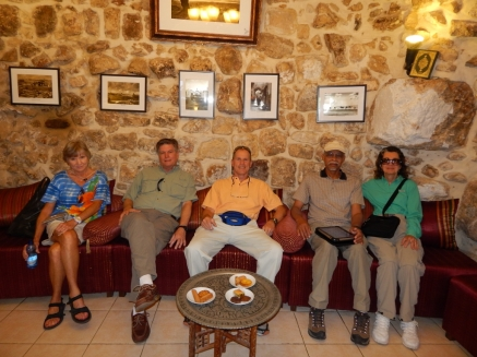 Having coffee and cookies with friends from HOI in the Muslim Quarter of the Old City. After the ladies went shopping, John, Chuck and I roamed around and got to talk with some Muslim guys about Yeshua/Jesus, and encouraged them to read about Him in the Gospels.