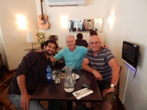 At a restaurant in Tel Aviv with my American friend Brandon and Israeli friend, who is a native born Israeli and Yom Kippur War veteran.