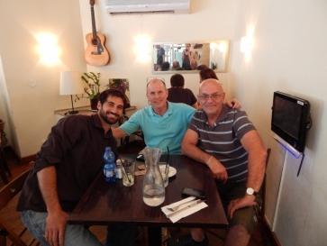 At a restaurant in Tel Aviv with my American friend Brandon and Israeli friend, who is a native born Israeli and Yom Kippur War veteran.