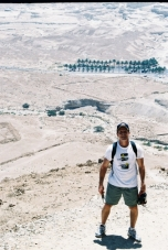 "On the descent of the ""Snake Path"" at the desert fortress Masada which overlooks the Dead Sea."