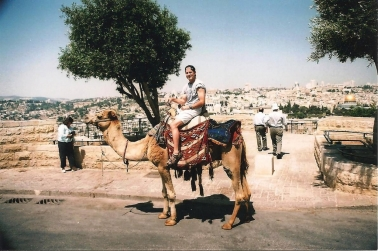 On the Mt. of Olives, here's me on the camel, with the Temple Mount in the background across the Kidron Valley.