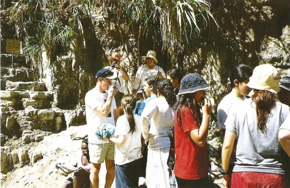 At En Gedi where David and his men hid out from King Saul (see 1 Samuel 23:29). Here on this occasion these Israeli kids pressed me into going into the water pool to look for a pair of glasses one of them had lost. The water was VERY COLD! :)