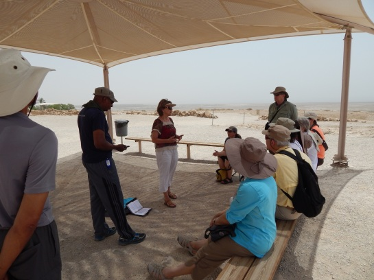 Touring at Qumran with Dr. Vered Hillel. Here the Dead Sea Scrolls were discovered in 1947, which has turned out to be the largest and richest archaeological find of ancient literature in history.