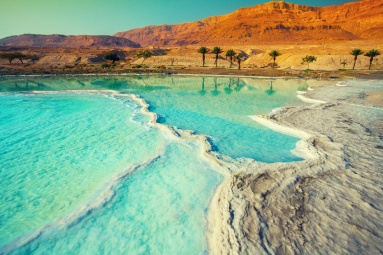 Dead sea salt shore