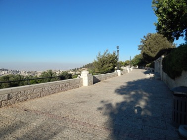 Haas Promenade overlooking Jerusalem and Judean Desert to the east. About a 10 minute walk from my apt. From this vantage point atop a ridge overlooking Jerusalem's Old City and the Dead Sea, tradition holds that Abraham was shown Mount Moriah as the site for the binding of Isaac as recorded in the Bible. https://en.wikipedia.org/wiki/Talpiot