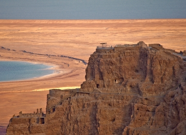 The desert fortress of Masada, looking east toward the Northern Palace, with the Dead Sea in the background. https://en.wikipedia.org/wiki/Masada
