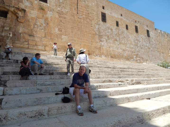 Me taking a break on the Southern Steps in Jerusalem.