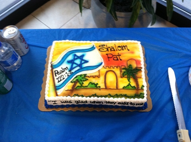 "Check it out! For my 'going away party' from HOI, Laurie Taylor made this cake, with Psalm 122:1-2 on it: ""I was glad when they said to me, ""Let us go to the house of the Lord."" Our feet are standing within your gates, O Jerusalem."" It was almost too beautiful to eat...almost, but we ate it anyway! Thanks Laurie! :)"